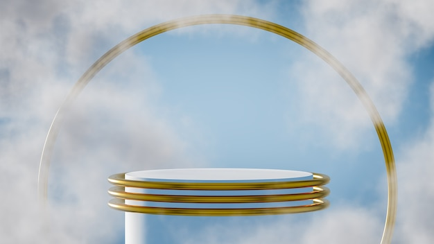 Cloudy podium for product display with sky background