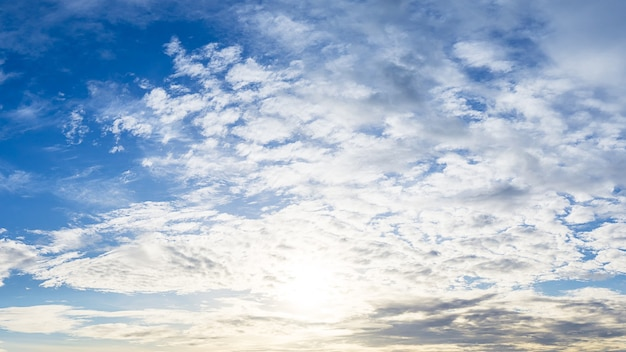 Cloudy sky and bright sunshine panorama background image