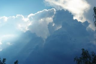 Cloudy sky, bright