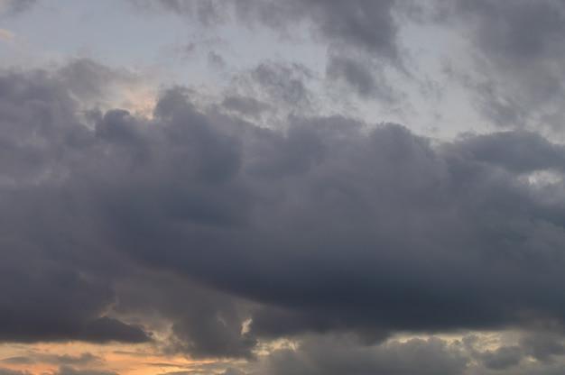 Cloudy sunset sky golden hour