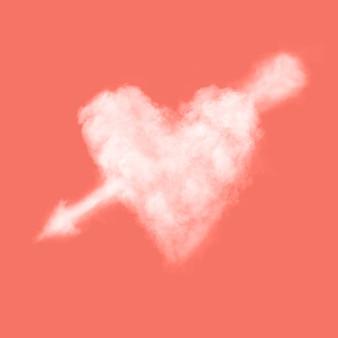 Облачное белое сердце со стрелкой в цвете живой коралл. место для текста.