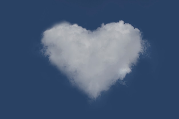 Cloudy with a heart shape in the blue sky.  cloud's heart.