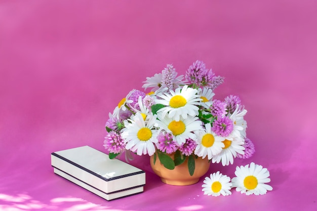 Букет клевера и ромашки в вазе на светлом фоне. летний букет из садовых и полевых цветов. натюрморт на розовом фоне.