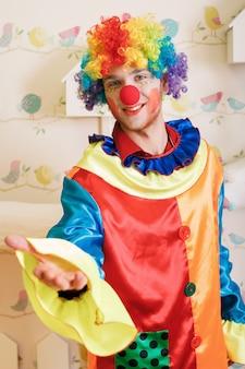 Clown offers friendship.
