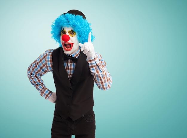 Clown scolding annoyed