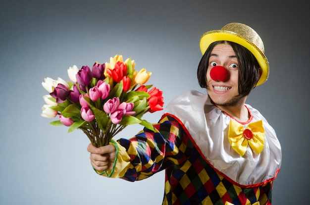 Clown with tulip flowers