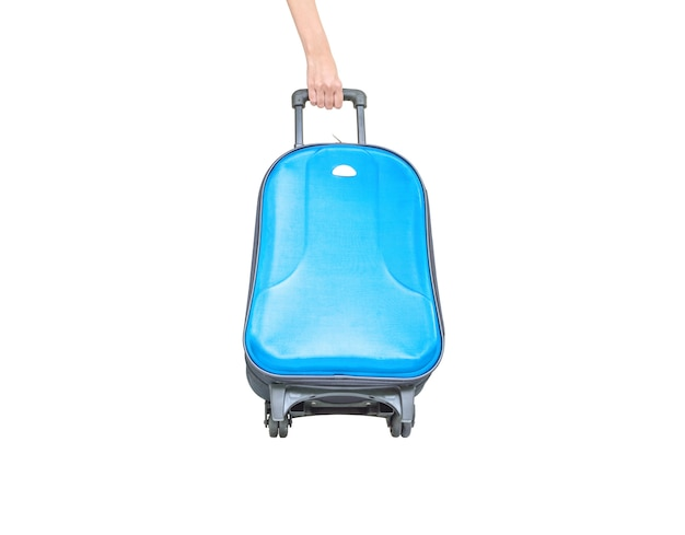 Clsoeup blue luggage with hand isolated on white background