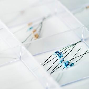 Clsoeup of resistors eletronics parts