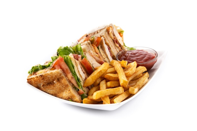 Club sandwich and french fries isolated on white bckground