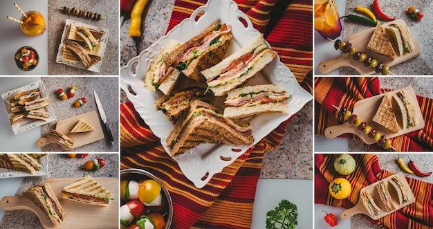햄 살라미 소시지 훈제 쇠고기 치즈 양상추와 루꼴라를 곁들인 클럽 샌드위치 세트 사진 콜라주