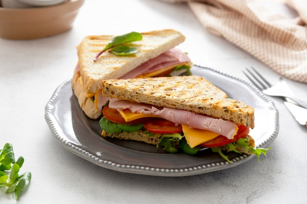 Club sandwich with meat ham, lettuce, cheese. sandwiches toasted bread. snack or lunch food.