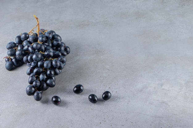 Cluster of fresh black grapes placed on stone background.