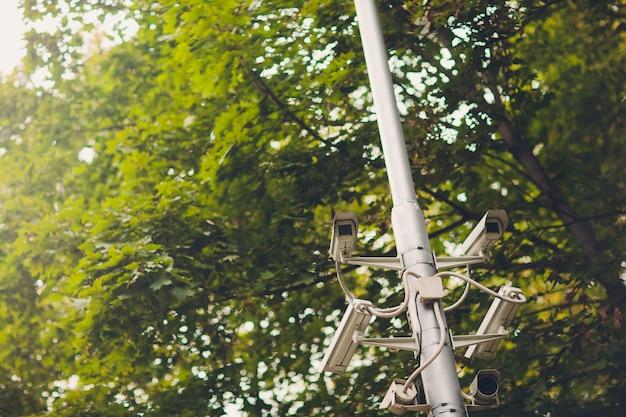 Кластер камер видеонаблюдения на фонарном столбе в старом общественном парке на фоне весенней листвы