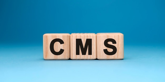 Cms 웹 사이트-그라데이션 표면이있는 나무 큐브의 텍스트 개념