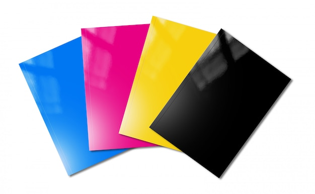 Cmyk booklets set mockup on white background