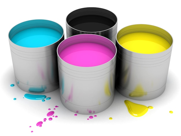 Cmyk cans with color paint. 3d rendering illustration