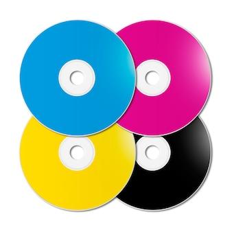 Cmyk cd - dvd установлен на белой поверхности