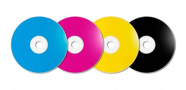 Cmyk cd - dvd set on white background
