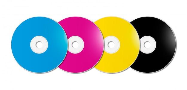 Cmyk cd - dvd установлен на белом фоне