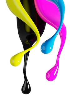 Cmyk color splash isolated on white background 3d render