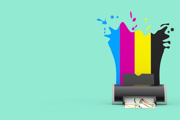 Cmyk colors behind digital inkjet printer on an aquamarine background. 3d rendering
