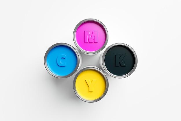 Cmyk 시안색, 마젠타색, 노란색, 위쪽 보기 다채로운 페인트의 검정색은 아이디어 창의성 디자인 스펙트럼 색상으로 흰색 배경에 분리된 액체 버킷 수 있습니다. 3d 렌더링.