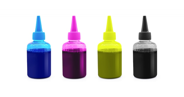 Cmyk ink bottle for printer machine isolated