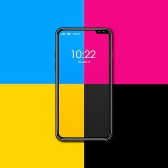 色の背景に分離されたcmykスマートフォン。 3dレンダリング