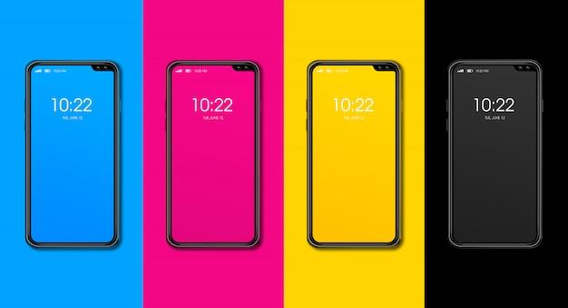 Cmykスマートフォンセットは、色の表面に分離されました。 3dレンダリング