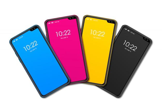 Набор смартфонов cmyk, изолированные на белом фоне. 3d визуализация