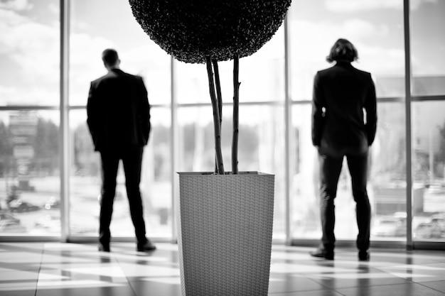 Сотрудники, стоящие близко к окнам