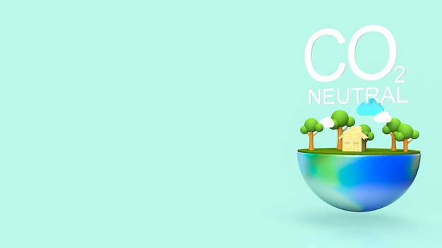 Co2 neutral  text and earth for ecology concept 3d rendering