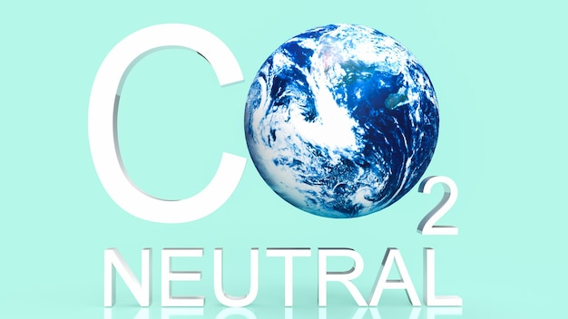 Co2 neutral  text and earth for ecology concept 3d rendering Premium Photo