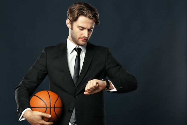 Coach, business, sport on black