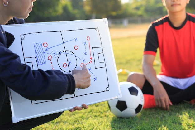 Coach training a tactic for asian teenager football player.