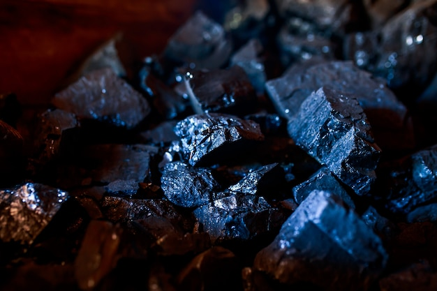 Coal or carbon on the dark background. coal closeup.