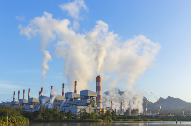 Coal-fired power plant with blue sky