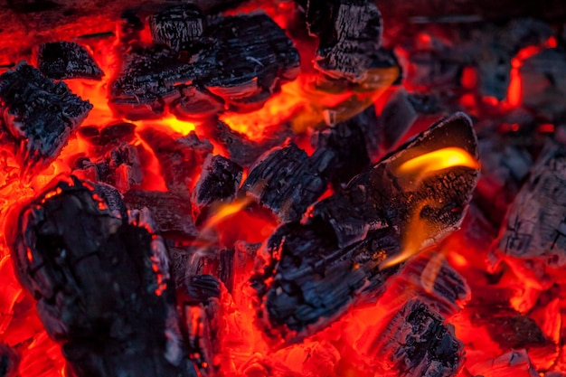 The coals of a campfire background