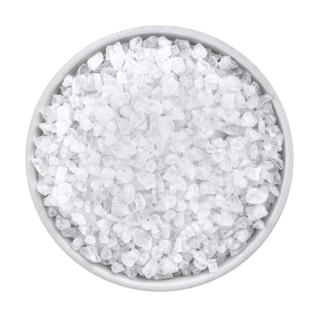 Coarse sea salt on white