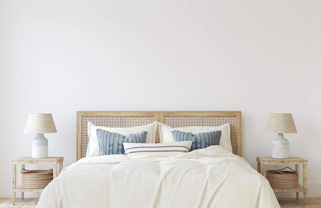 沿岸の寝室。インテリアモックアップ。 3dレンダリング。