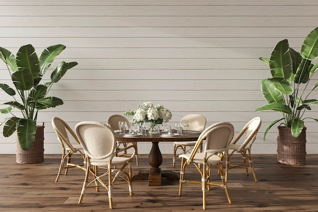 Coastal design dining room with table in cozy home interior hampton style 3d render illustration