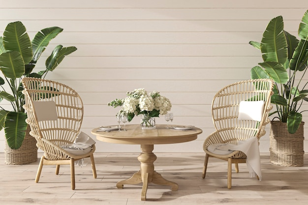 Coastal design dining room with wicker furniture in cozy home interior 3d render illustration