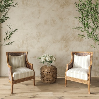 Coastal design living room in cozy home interior background hampton style 3d render illustration