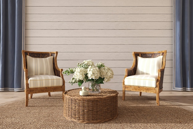 Coastal design living room in home interior hampton style 3d render illustration