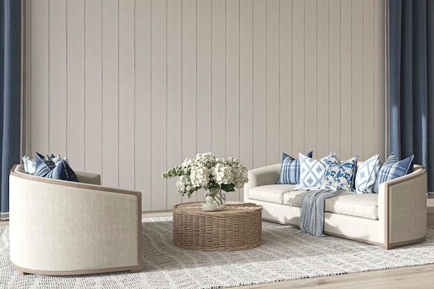 Прибрежный дизайн гостиной в уютном домашнем интерьере фона в стиле хэмптона 3d визуализации иллюстрации