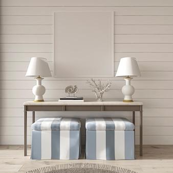 Coastal design room hampton style and mockup frame in cozy home interior 3d render illustration