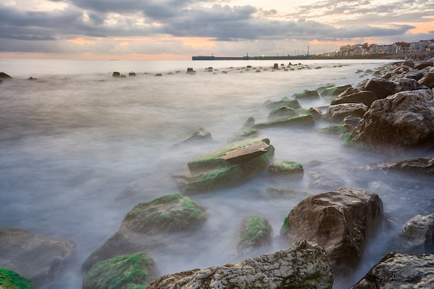 Coastal landscape with warm evening light when waves break on rocks covered with seaweed Premium Photo