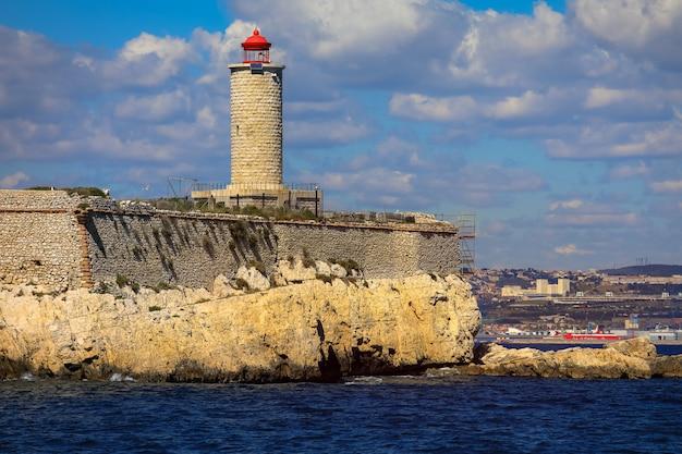 Coastal light house in marseille, france