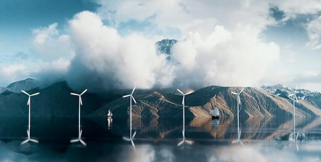Прибрежный парк ветряной электростанции расположен в дикой местности с величественной горной вершиной над облаками. 3d-рендеринг.