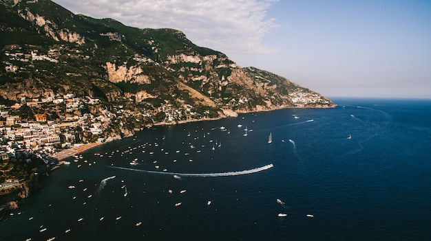 The coastline of italy is from the air